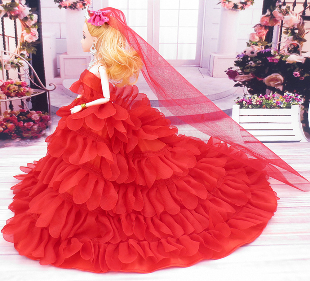 NK One Pcs Handmade Princess Wedding Dress+Veil Noble Party Gown For Barbie Doll Limited Collection Elegant Dress Best Gifts hatber optimum barbie the pearl princess 20627