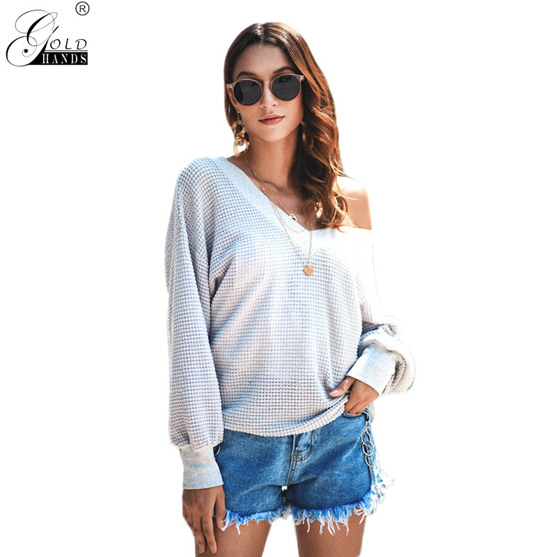 Gold Hands  Winter Autumn Casual Knitted Solid V-neck Women Sweaters and Pullovers Plus Size New Arrival Girls Sweater