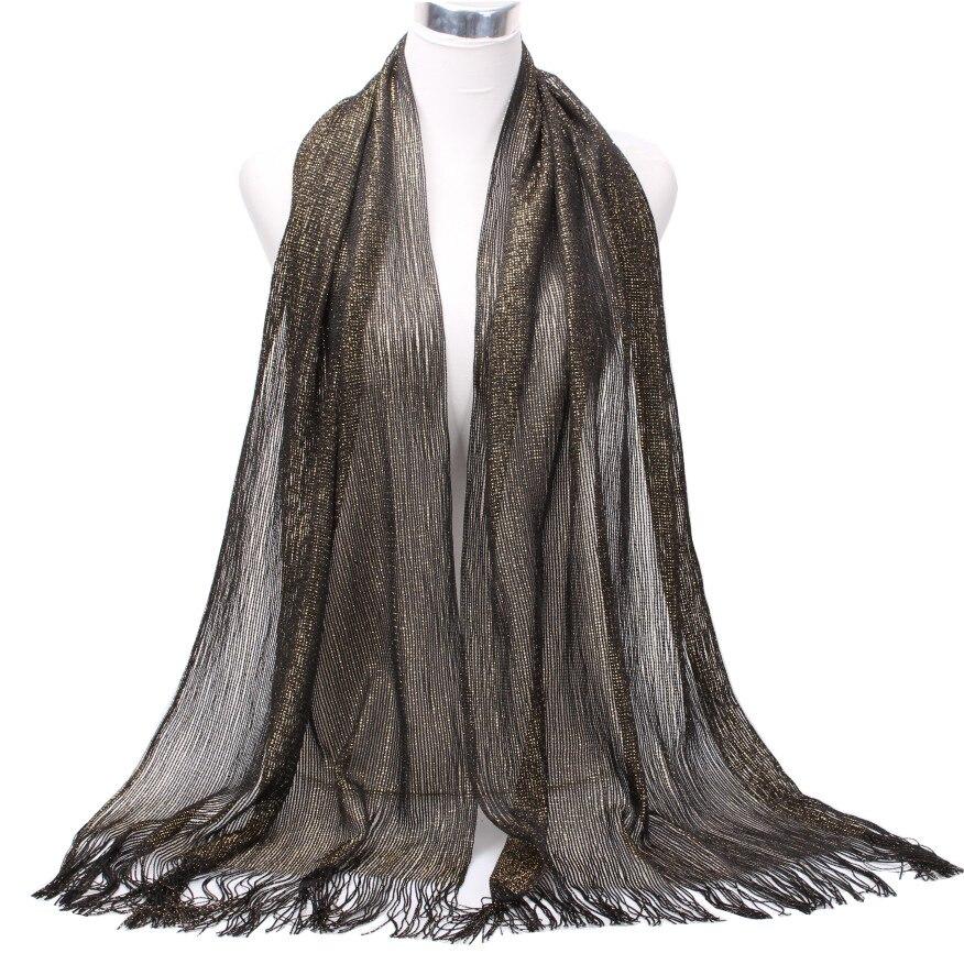 Ladies Plain Mesh Glitter Long Wrap Net Scarf Scarves