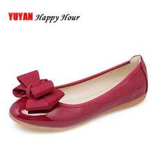 Модная обувь на плоской подошве для Для женщин круглый носок мягкие тонкие туфли сладкий бабочка узел Для женщин Туфли без каблуков Большой Размер(43) ZH2553