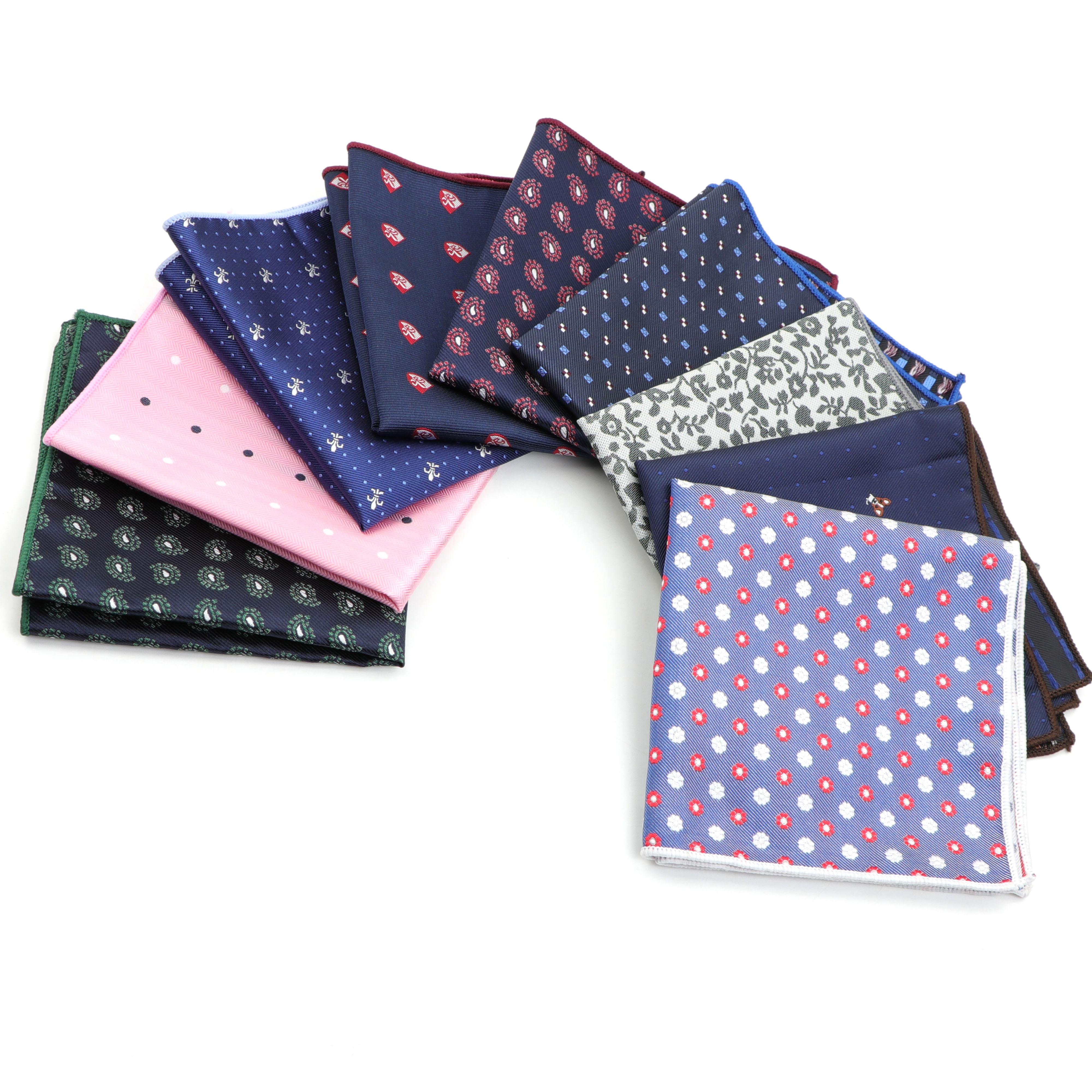 Men's Handkerchief Polka Dot Striped Woven Printing Pocket Square Hankies Business Casual Polyester Hanky NO.1-26