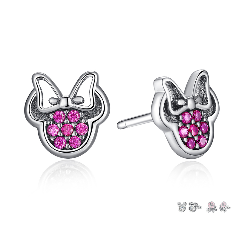 aa8153dda BISAER Wholesale 925 Sterling Silver Earrings Women Cartoon Mouse Animal  Dolphin Cat Sparkling Minnie Silver 925 Jewelry-in Stud Earrings from  Jewelry ...