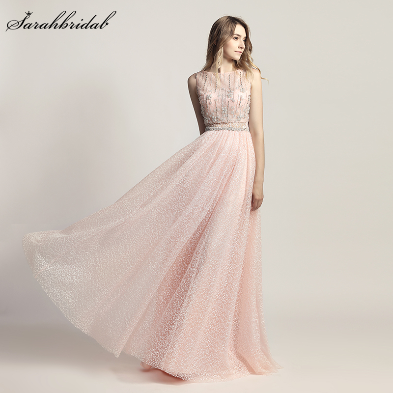 Robe De Soiree Latest Luxury Styles Elegant Formal Long   Evening     Dresses   A Line Crystal Party Gowns Real Photos LSX446