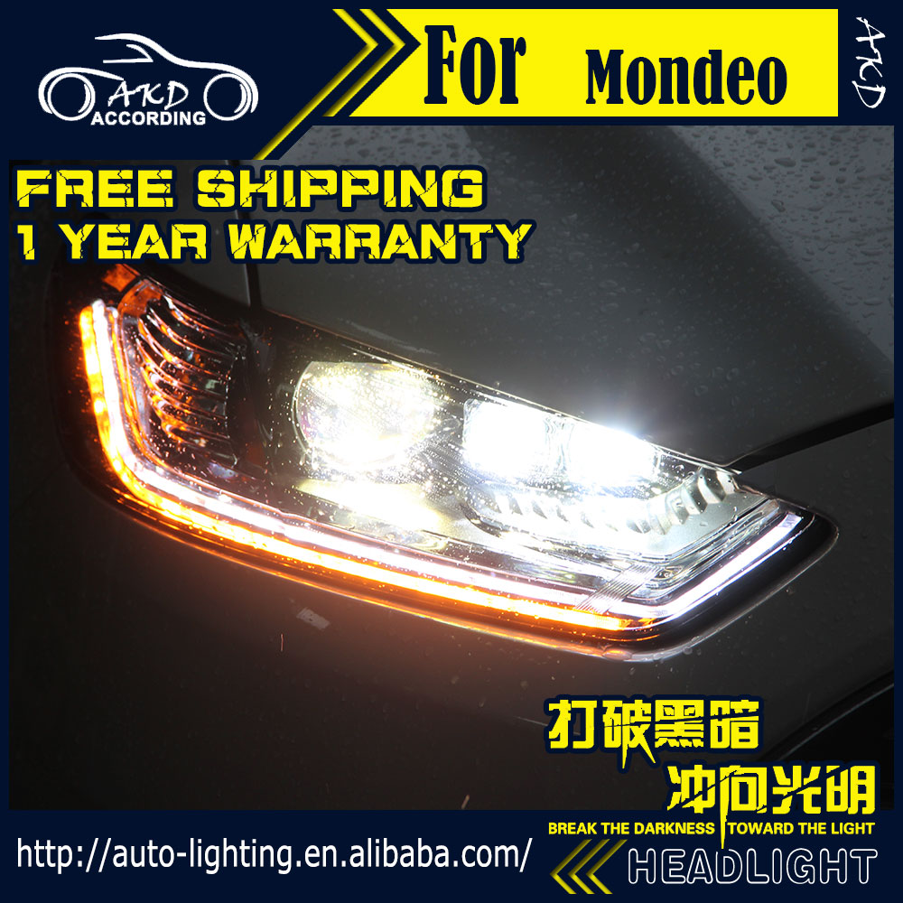 AKD Car Styling Head Lamp for Ford Mondeo Headlight 2013-2016 Mondeo LED Headlight DRL H7 D2H Hid Option Bi Xenon LED High Beam car styling head lamp case for hyundai creta ix25 headlight 2015 2016 sentra led headlight drl h7 d2h hid option bi xenon beam