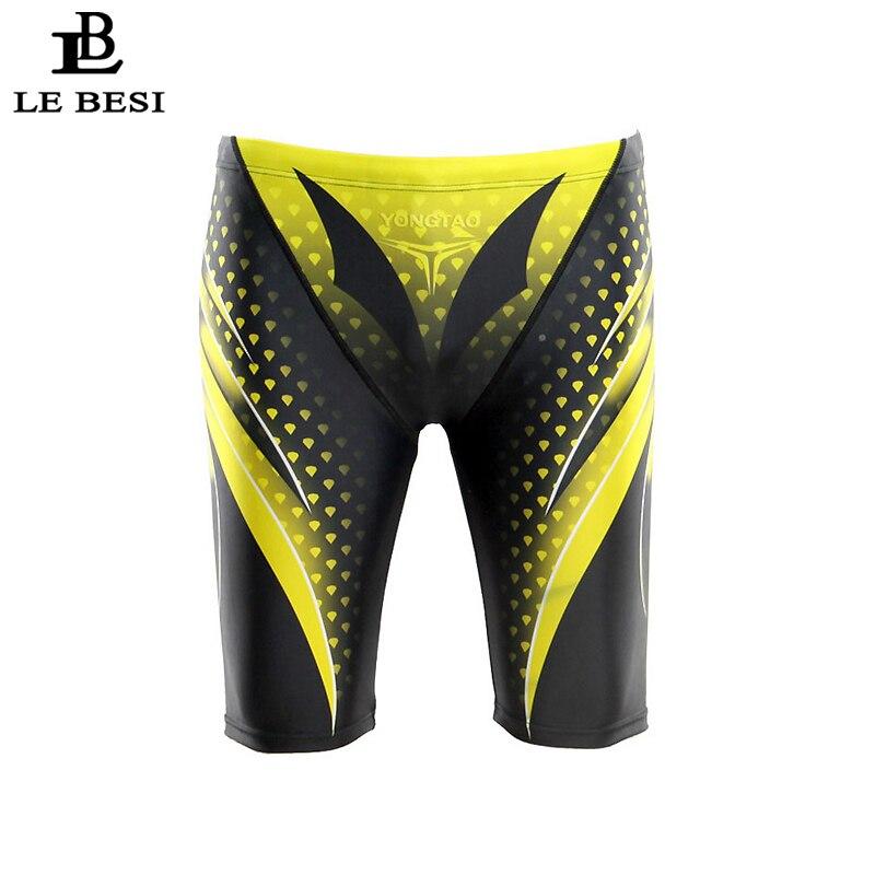 2017 LEBESI Men Swimming Trunks Fifth Pants Mens Swimsuits Hight Waisted Boxer Swimwear Plus Size Sportswear Print Beachwear