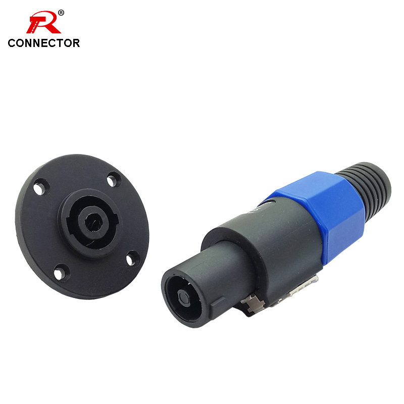 1set 4 Pin Speakon Male Plug + Female Jack Socket Connector Round Shape Panel Mount Amplifier Converter R Connector
