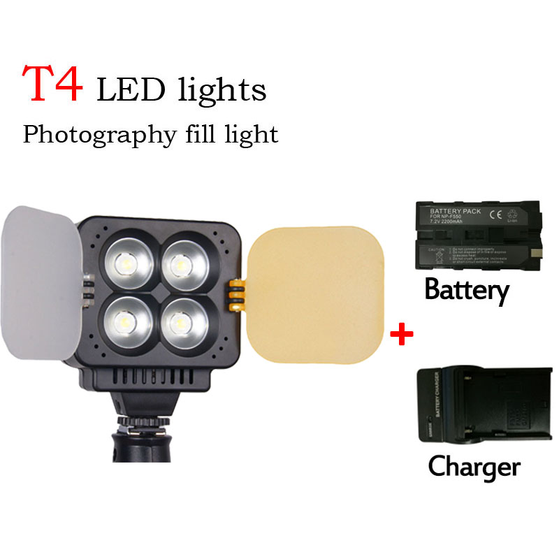 Zifon T4 LED video light Wedding photography digital dimming high-brightness high-power flash knob+ Charger + battery