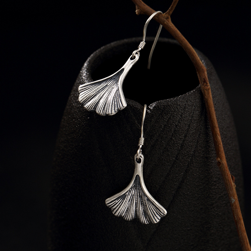 Pure Silver, Antique, Old Matte Ginkgo Leaf, Womens Sterling Silver, Personality, Jog Earrings, Earrings Wholesale.