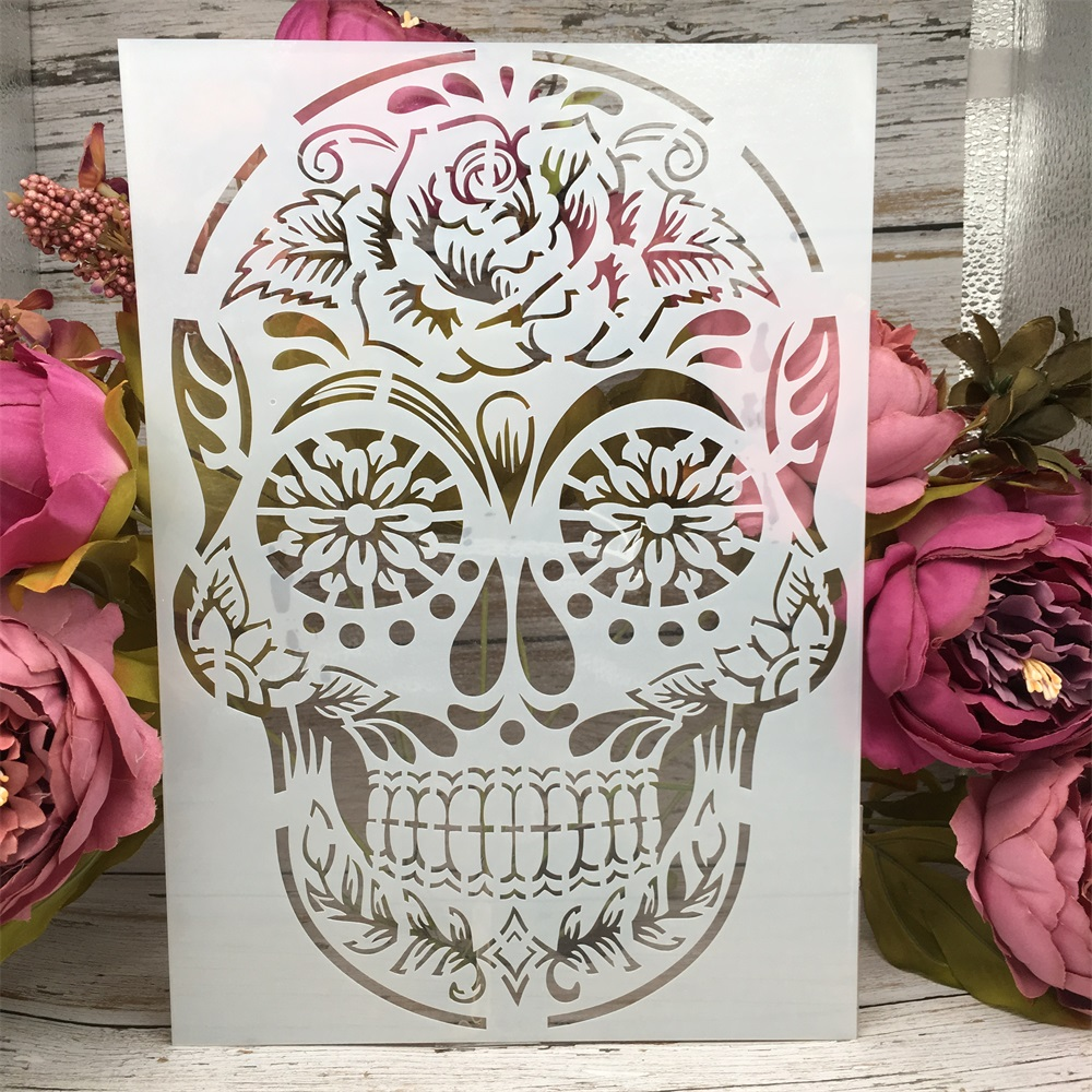 A4 29cm Vintage Skull DIY Layering Stencils Wall Painting Scrapbook Coloring Embossing Album Decorative Paper Card Template