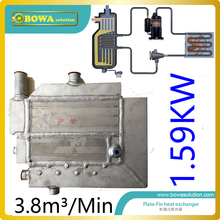3.8m3/min(1.6KW cooling capacity) air dryer dedicated heat exchanger with water drain to replace stainless steel plate HEX