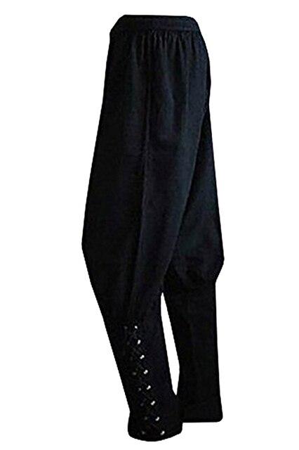 f4434b798cc7 Hot Sale Adult Men Black Ankle Banded Pants Medieval Viking Navigator  Trousers Renaissance Gothic Pants Halloween