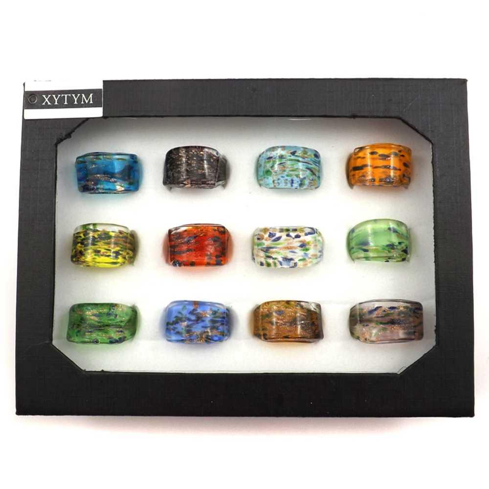 ขายส่ง 12 pcs Handmade ฟอยล์ที่มีสีสันจุดแก้วแหวนกับเสื้อผ้าที่ไม่ซ้ำกัน Murano แก้วเครื่องประดับ