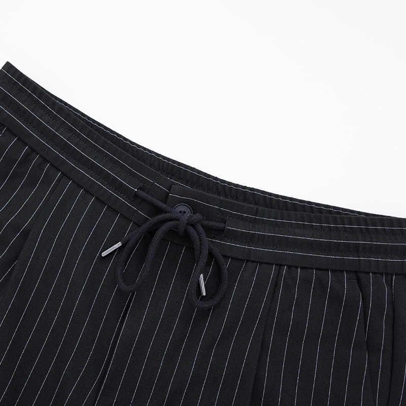 SEMIR الرجال الموضة مخطط الكاحل طول السراويل الرجال سليم صالح البدلة السراويل في القطن الناعم مع مرونة الرباط حزام الربيع