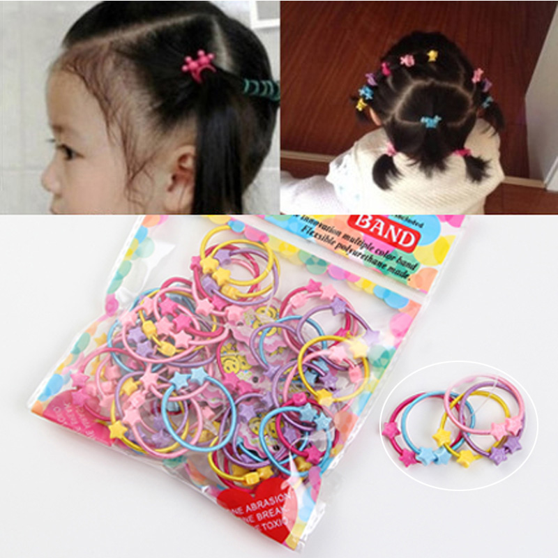 50pcs/1Pack Hair Accessories Cute Candy Colors Elastic Hair Rubber Band High Quality Kid Ponytail Holder Headband Ties Gum 12pc set elastic hair rubber band children hair unicorn headband kids hair accessories gril hair band set cute unicorn cartoon