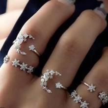 5 шт./компл. женские кольца серебряного цвета со стразами нежная Звезда Луна Кристалл кольцо набор женские ювелирные изделия