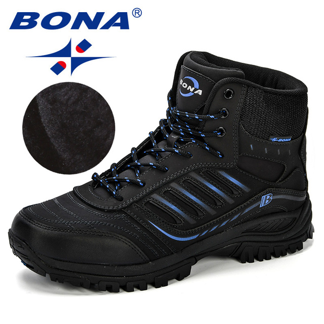 BONA Men Hiking Shoes Mid-Top Split Leather Outdoor Sneaker Men Comfy Trekking Boots Men Trail Camping Climbing Hunting Sneakers