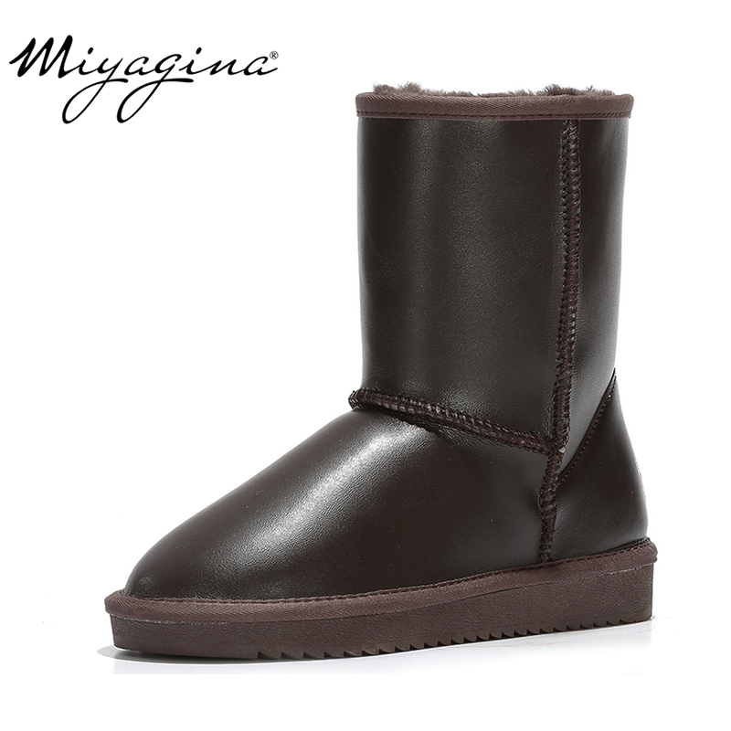 MIYAGINA New Fashion Women Snow Boots 100% Genuine Leather Women Boots Natural Fur Warm Wool Winter Shoes Free Shipping-in Mid-Calf Boots from Shoes    1