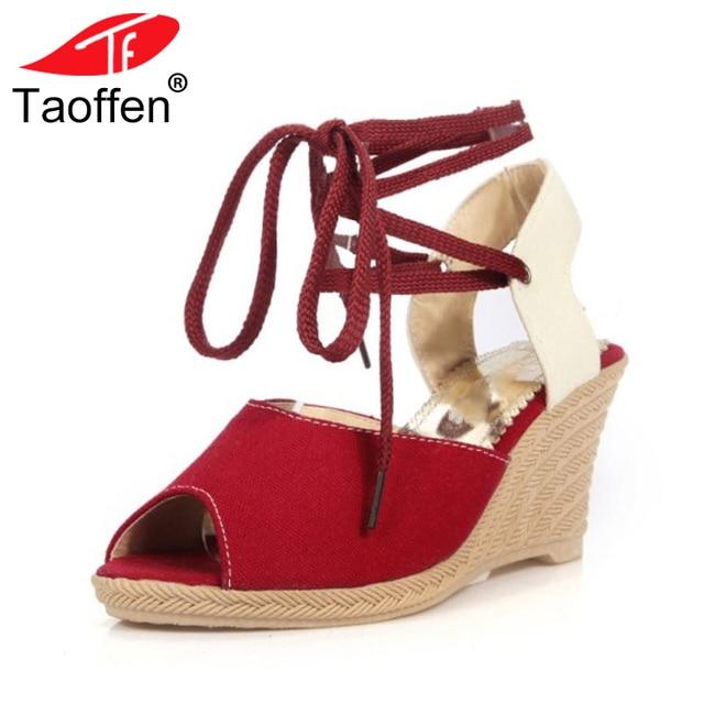 b5d1fb49a3 TAOFFEN Women High Heels Gladiator Sandals Open Toe Cross Strap Wedges  Summer Shoes Women Office Lady Daily Footwear Size 34-39