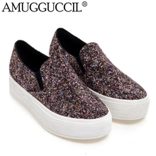 2017 New Arrival Black Blue Mosaic-gold Glitter Bling Fashion Casual Spring Autumn Girls Lady Females Flats Women Shoes D961