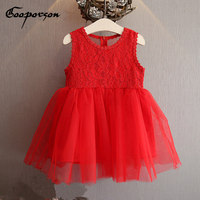 Red Girls Summer Dress Sleeveless Back See Through Party Dress For Kids Baby Lace Flower Elegant