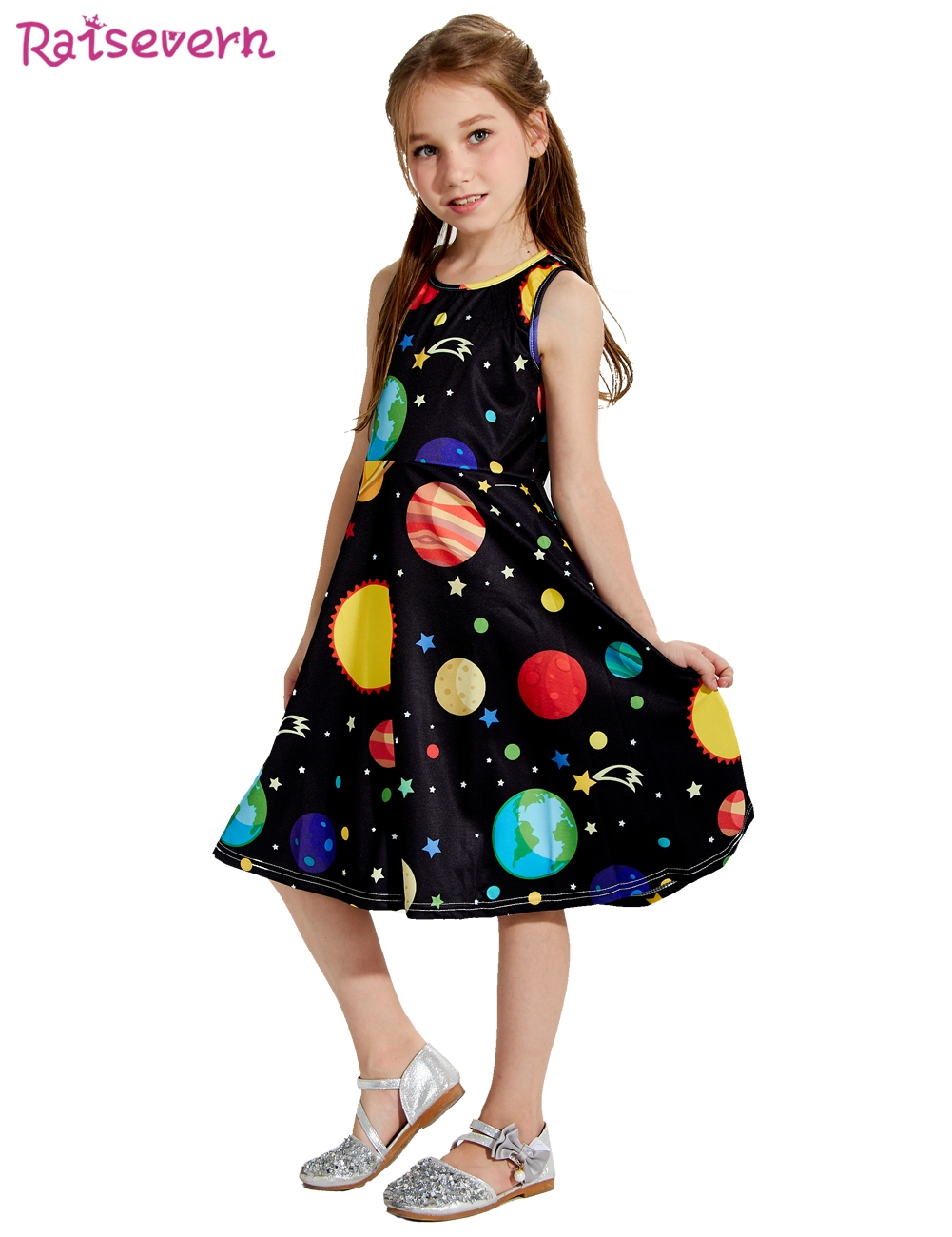 Summer Baby Girl Dress Fashion Kids Dresses Girls Cartoon Sun Moon Earth Stars Outer Space Starry Sky Print Children Clothing summer baby girls dress ice cream print 100% cotton toddler girl clothing cartoon 2018 fashion kids girl clothes infant dresses
