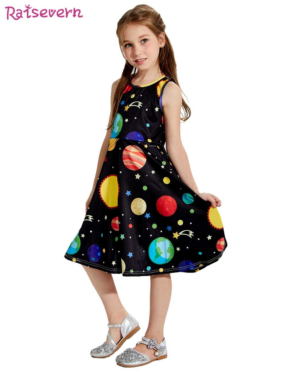 a373aebf53c7e Summer Baby Girl Dress Fashion Kids Dresses Girls Cartoon Sun Moon Earth  Stars Outer Space Starry