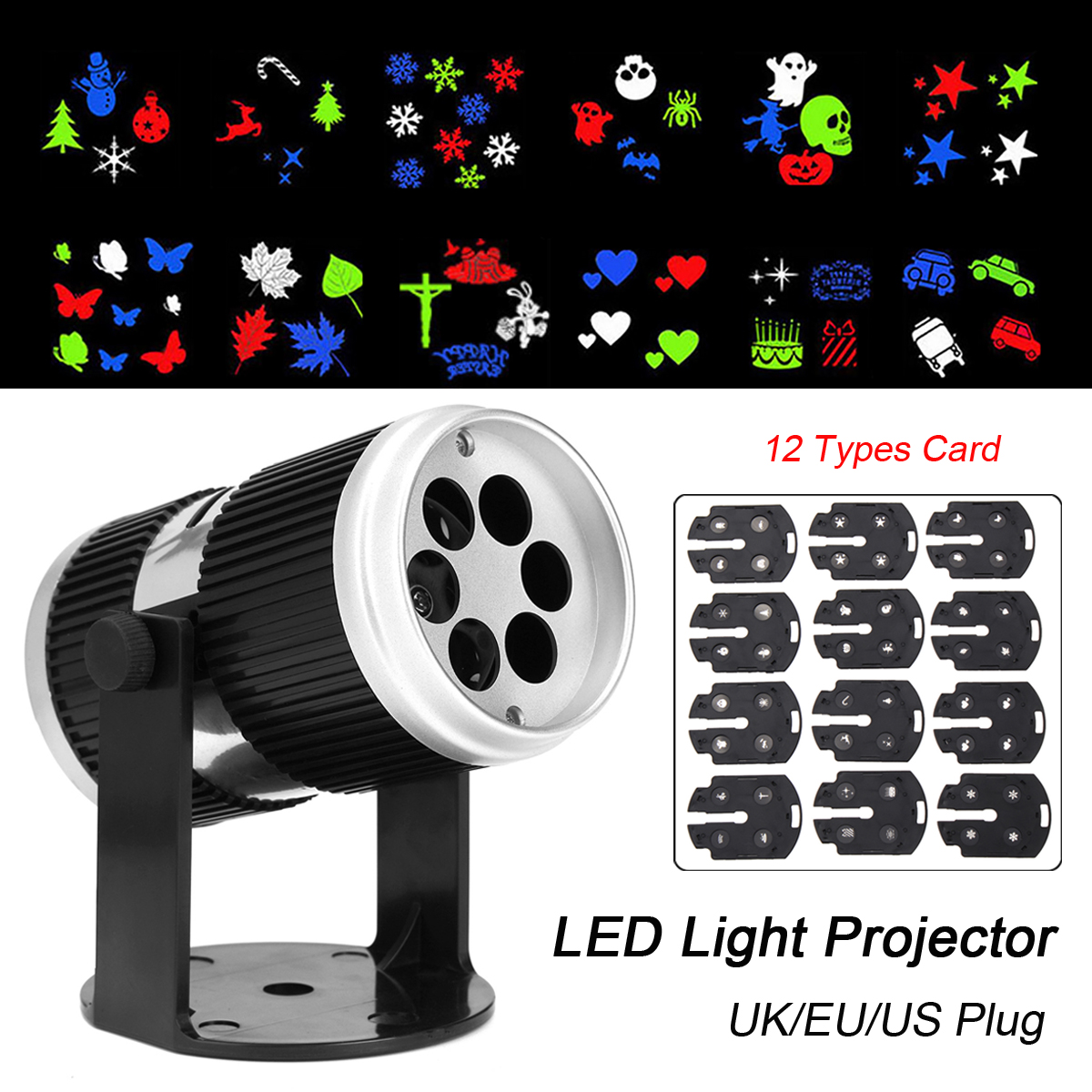 Christmas Projector Light Lamp Snow Projector Indoor Outdoor Landscape Moving LED Home Party Lamp Christmas + 12 Slides Holiday christmas led stage laser light 12 slides film projector lamp outdoor projector landscape light xmas party garden holiday