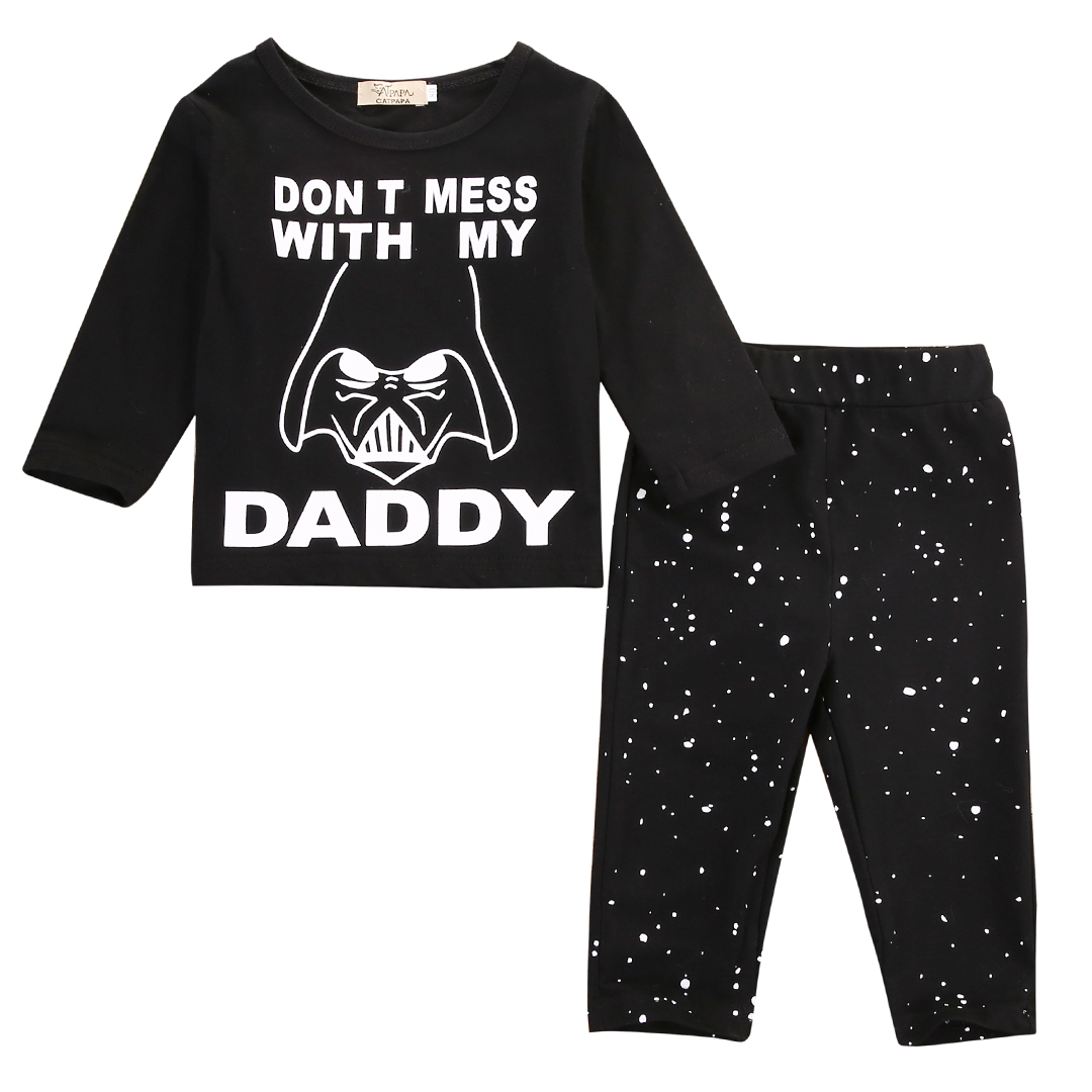 Emmababy Newborn Baby Boys Girl Star Wars Long Sleeve Clothes Tops T-shirt+Long Pants Outfit Set 2pcs baby 3pcs set newborn infant baby boy girl clothes geometric t shirt tops striped long pants legging outfit set baby winter coat