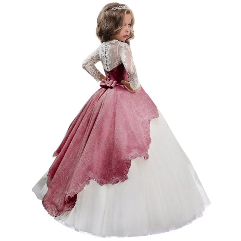 High end evening party   flower     girl     dresses   for wedding first communion princess pageant   dress   baby costume vestido comunion