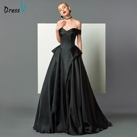 DressV Off The Shoulder Black Evening Dress A Line Cap Sleeves Sweep Train Formal Party Dress
