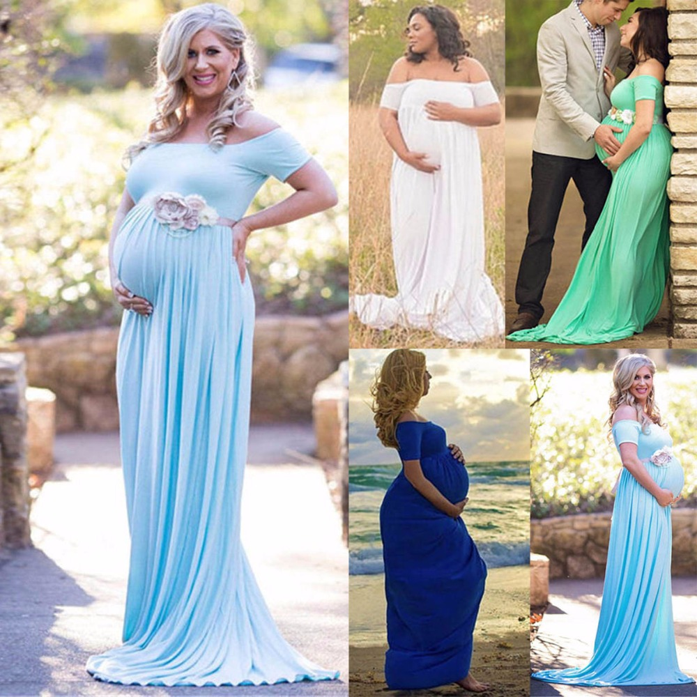 New Solid Short Sleeve Slash neck Maternity Photography Gown Maternity Vestidos Sweet Heart Maternity Photography Props Dresses