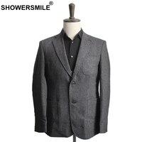 Showersmile мужские шерстяные пиджаки елочка твидовый пиджак мужской серый полосатый Блейзер Куртки с карманами в стиле ретро Винтаж Костюмы