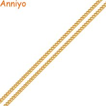 Anniyo Width2MM, Length 45CM/60CM Women Chain Necklaces Gold Color & Copper Jewelry Thin Chains for Girls #016201(China)