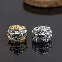 925 пробы Серебряное кольцо Pixiu с черепом настоящие S925 тайские серебряные кольца для женщин ювелирные изделия регулируемый размер