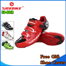 Sidebike Unisex Bicycle Road Cycling Shoes Breathable MTB Non-Slip Road Bike Lock Shoes Zapatillas Ciclismo Bicicleta SD01 RED