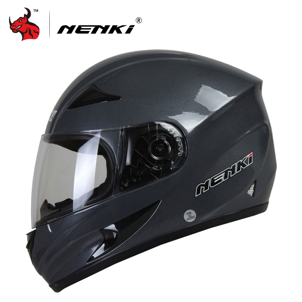NENKI Mens Motorcycle Helmets Skull Printing Full Face Riding Helmet Clear Lens Shield Helmet Capacete De Moto nenki motorcycle helmets motocross racing helmet motorbike full face helmet capacete de moto for men and women 13 color