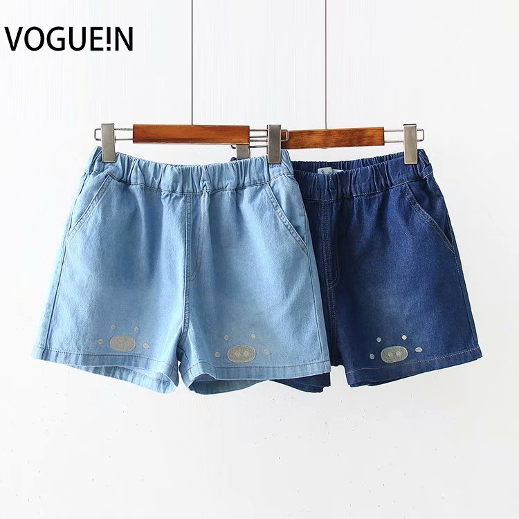 VOGUEIN New Womens Cute Pig Nose Embroidered Pockets Denim Jeans Short Pants Shorts Wholesale