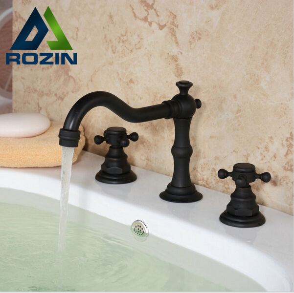 New Design Dual Handle Basin Mixer Tap Oil Rubbed Bronze Deck Mounted Waterfall Bathroom Sink Faucet new luxury oil rubbed bronze deck mounted waterfall basin faucet dual handles sink mixer tap
