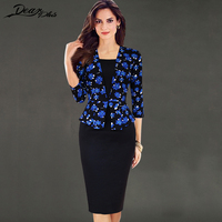 Elegant Print Autumn Winter Dress Women Faux Twinset 3 4 Sleeve Sheath Bodycon Tunic Dress Formal