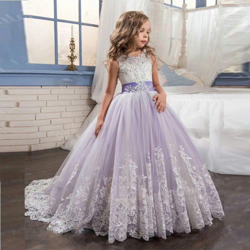 Flower Girl Dresses With Bow Beaded Crystal Lace Up Applique Ball Gown First Communion Dress for Girls Customized Vestidos LongoFlower Girl Dresses With Bow Beaded Crystal Lace Up Applique Ball Gown First Communion Dress for Girls Customized Vestidos Longo