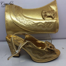 Capputine Top Quality Fashion Shoes And Bag Set African Decoration With Rhinestone Shoes And Bag Set For Evening Party BL295C