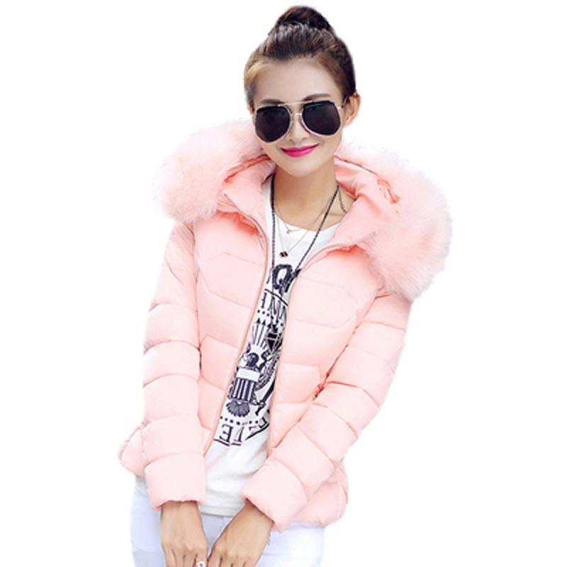 ФОТО Women's Parkas 2017 Cotton-Padd Fashioned Winter Coat Large Fur Collar Warm Overcoat Hooded Slim Short Jacket PW0197