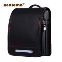 Coulomb Orthopedic School Backpack For Children School Bag For Kids Japanese PU Solid Student Randoseru Bags For Boys And Girl