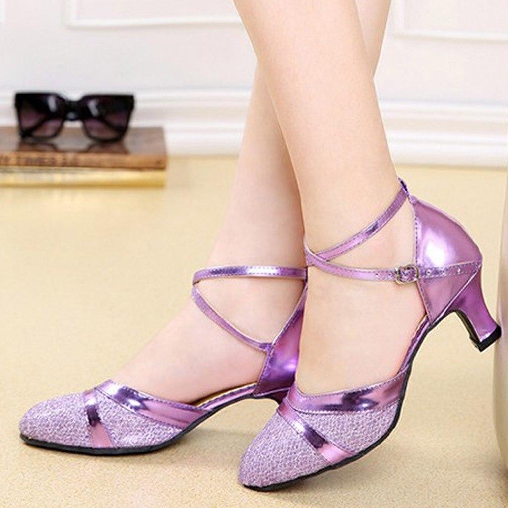 Womens Strap Sequins Square Danding Shoes Heels Latin Ballroom Tango Salsa Waltz