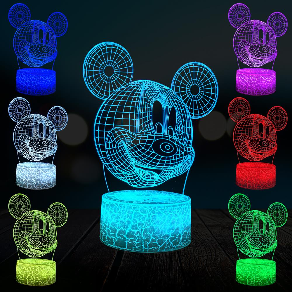 Mickey Mouse Head 3D Lamp LED Night Light USB Mood Table Cartoon Kawaii Baby Bedroom Touch Remote Luminaria Kid Gift Toy Lava