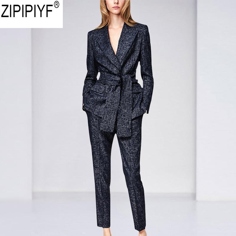 Plus Size 2018 Autumn Women Pant Suits Slim Female Turn down Collar Long Sleeve Blazer Long