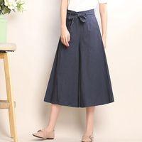 2018 Casual Lin Jambe Large Pantalon Femmes Lâche Taille Haute cravate Fermetures À Glissière Taille Pantalon Femmes Élégant OL Style Pantalon Veau longueur