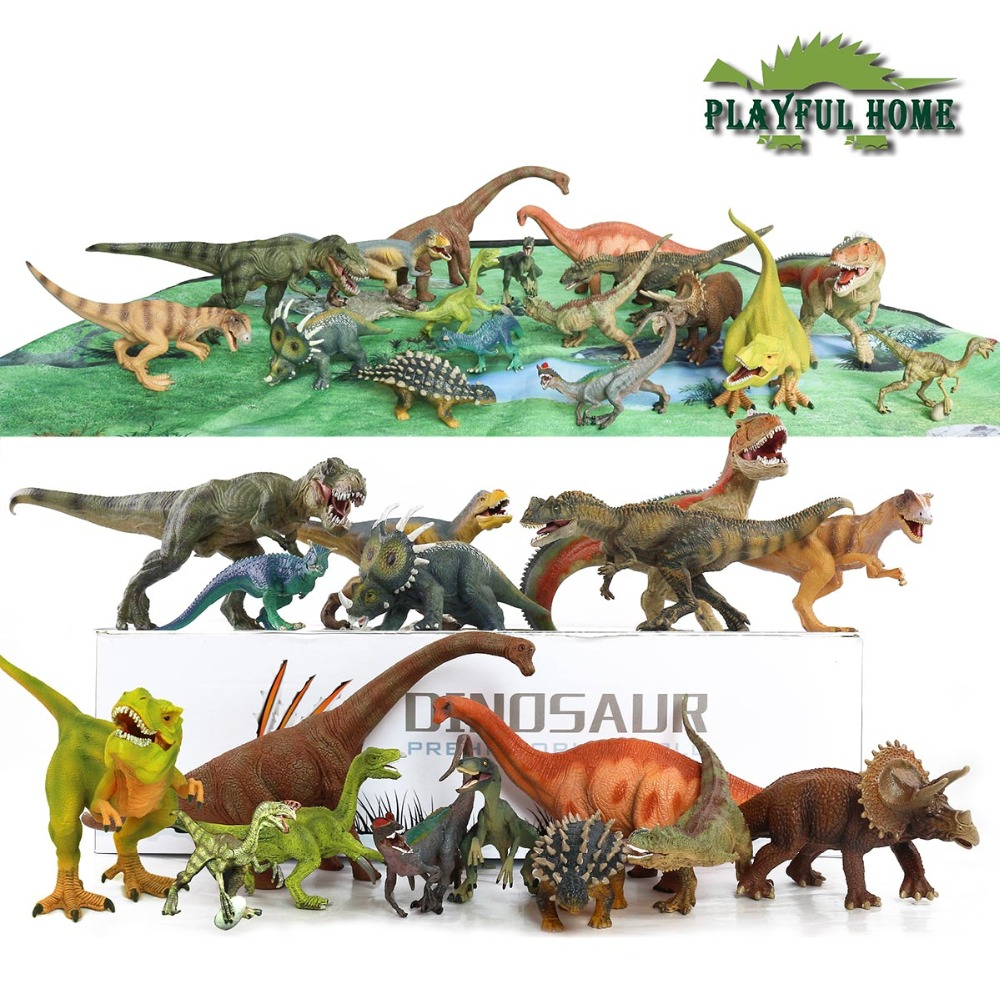18pcs Large Good 3D Dinosaurs Model Set Jurassic Action Figure Toys For Children Kids stuffed Animals Tyrannosaurus Rex Display the dinosaur island jurassic infrared remote control electric super large tyrannosaurus rex model children s toy