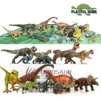 18pcs Large Good 3D Dinosaurs Model Set Jurassic Action Figure Toys For Children Kids stuffed Animals Tyrannosaurus Rex Display