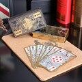 55 pçs/set borda de ouro jogando cartas de poker de plástico à prova d' água pvc transparente cartão dragão presente da novidade de alta qualidade